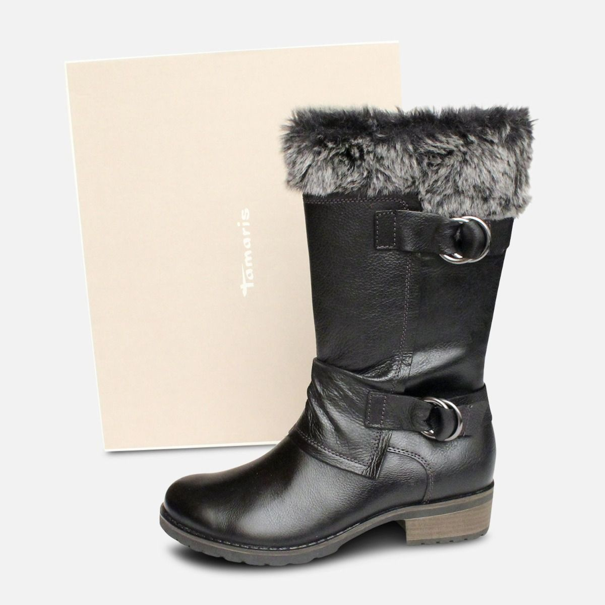 Black Ladies Side Zip Tamaris Boots with Fur Top