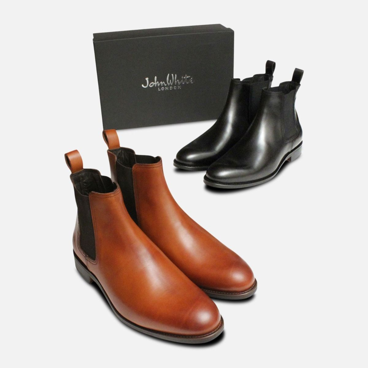 Black John White Chelsea Boot with Leather Sole