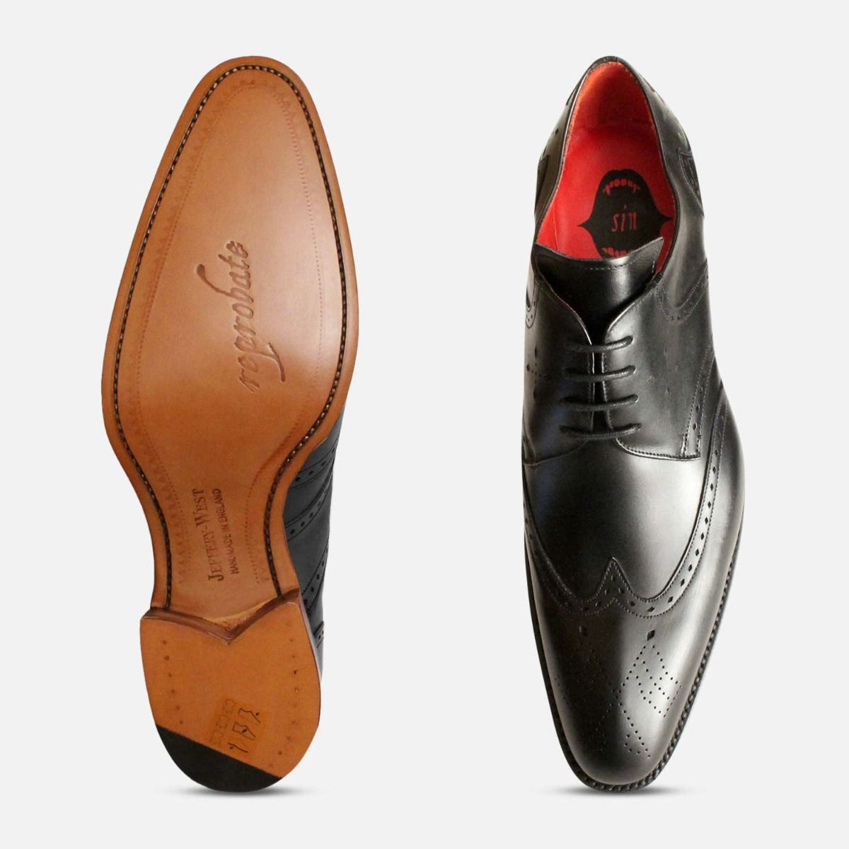 Matt Black Leather Jeffery West Mens Premium Brogues