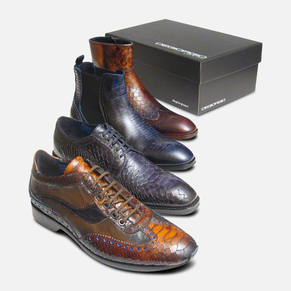 Mens Formal Black Snake Skin Shoes