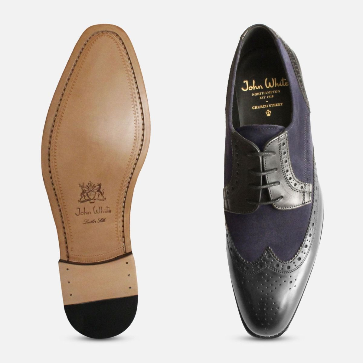 Spectator Brogues in Black & Navy by John White Shoes