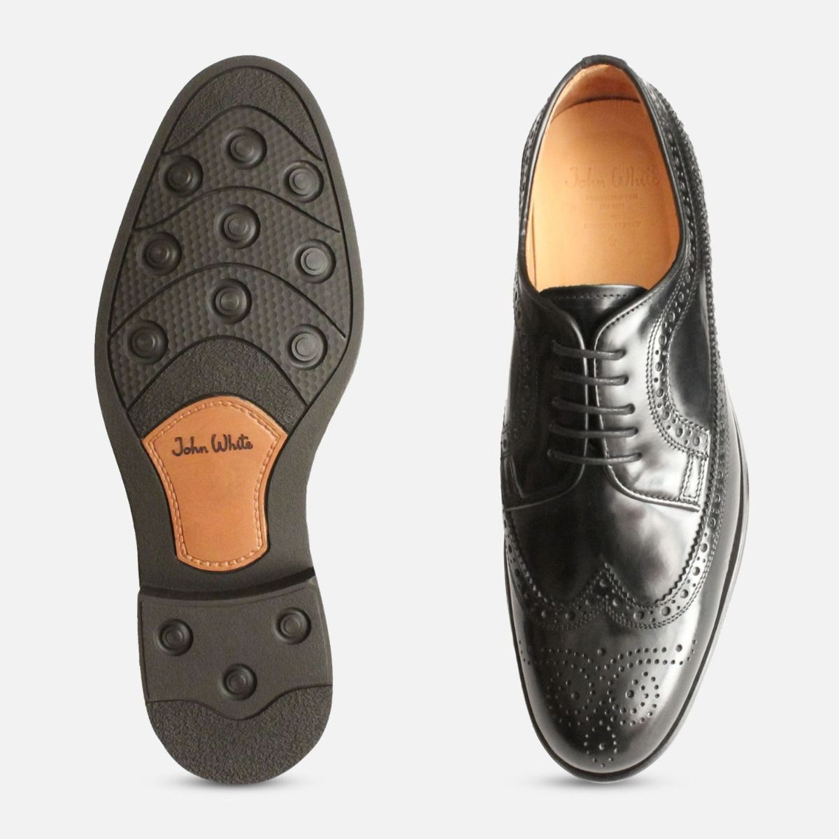 Black Longwing Bounty Brogues by John White Shoes