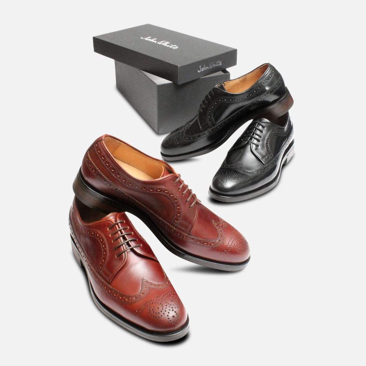 Black Longwing Bounty Brogues by John White Shoes