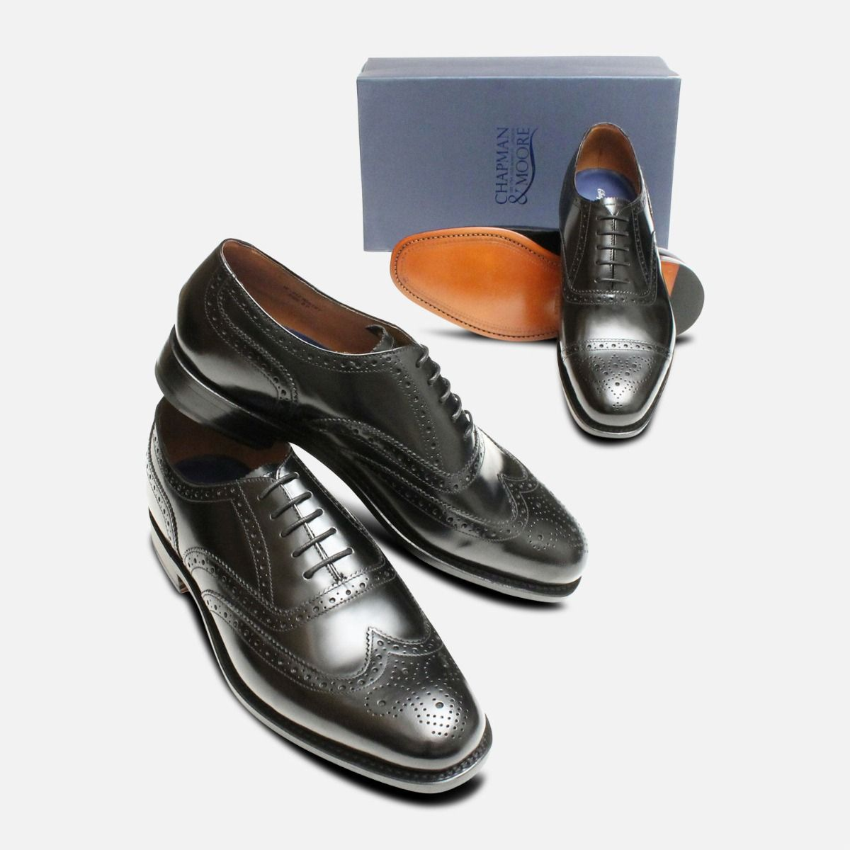 Semi Brogue Black Oxford Mens Chapman Shoes