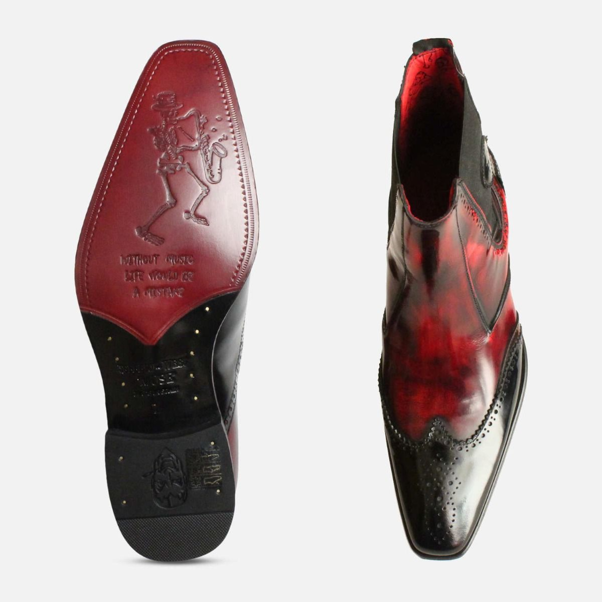 Fire Red Jeffery West Chelsea Brogues in Black
