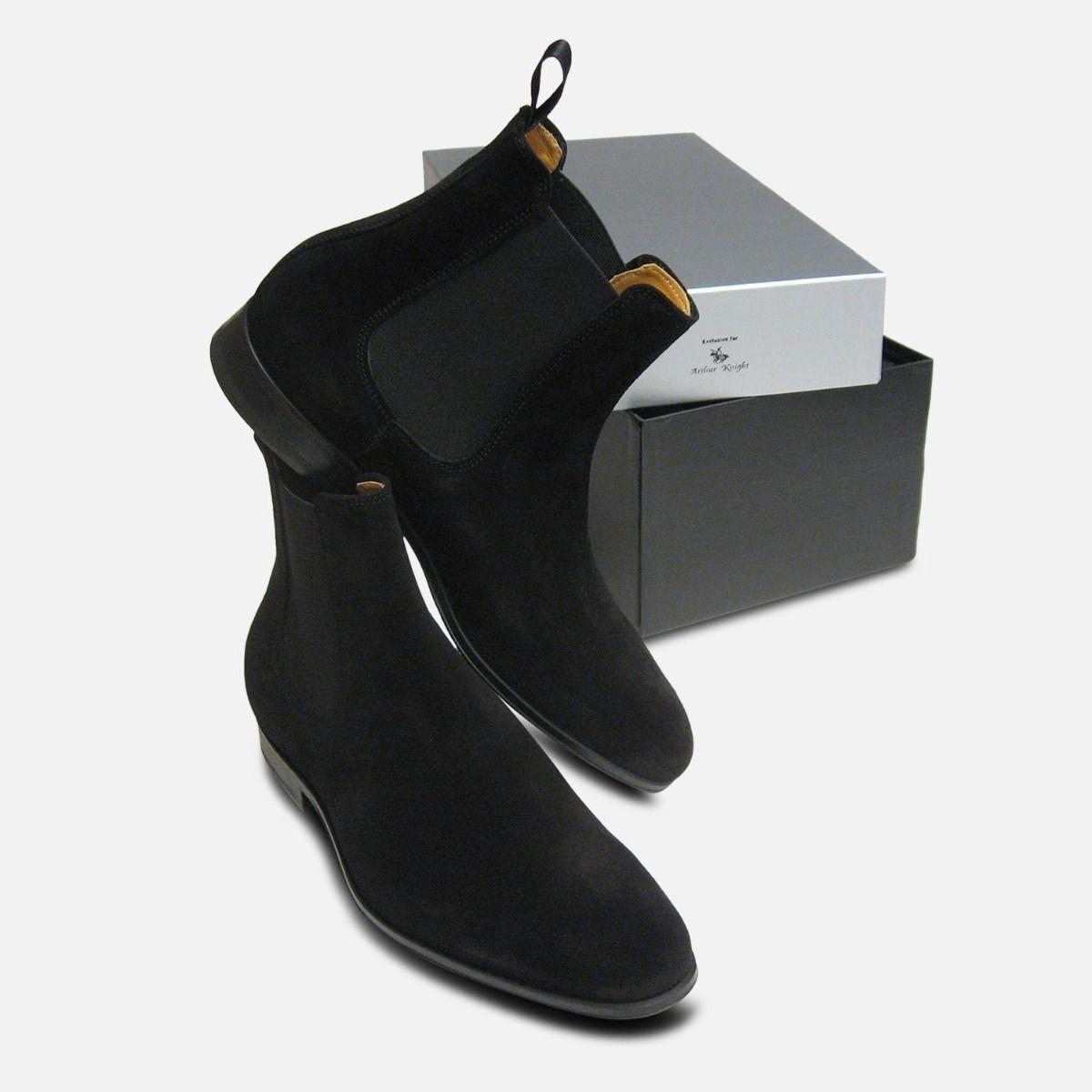 Black Suede Italian Chelsea Boots