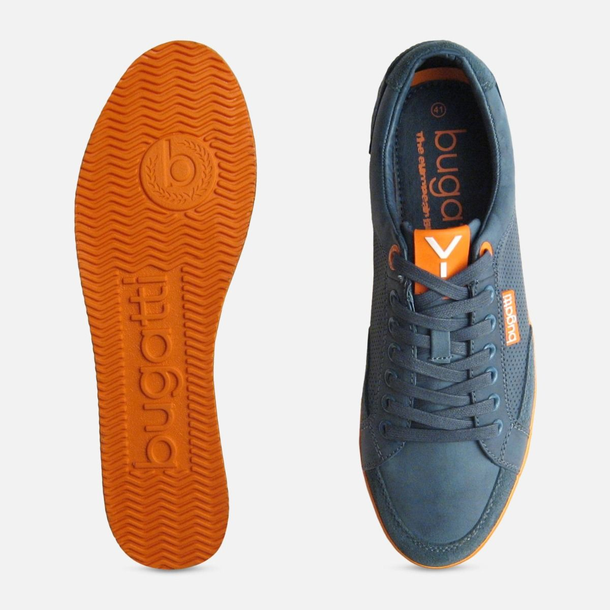 Mens Navy Blue Leather Designer Trainers by Bugatti Sneakers