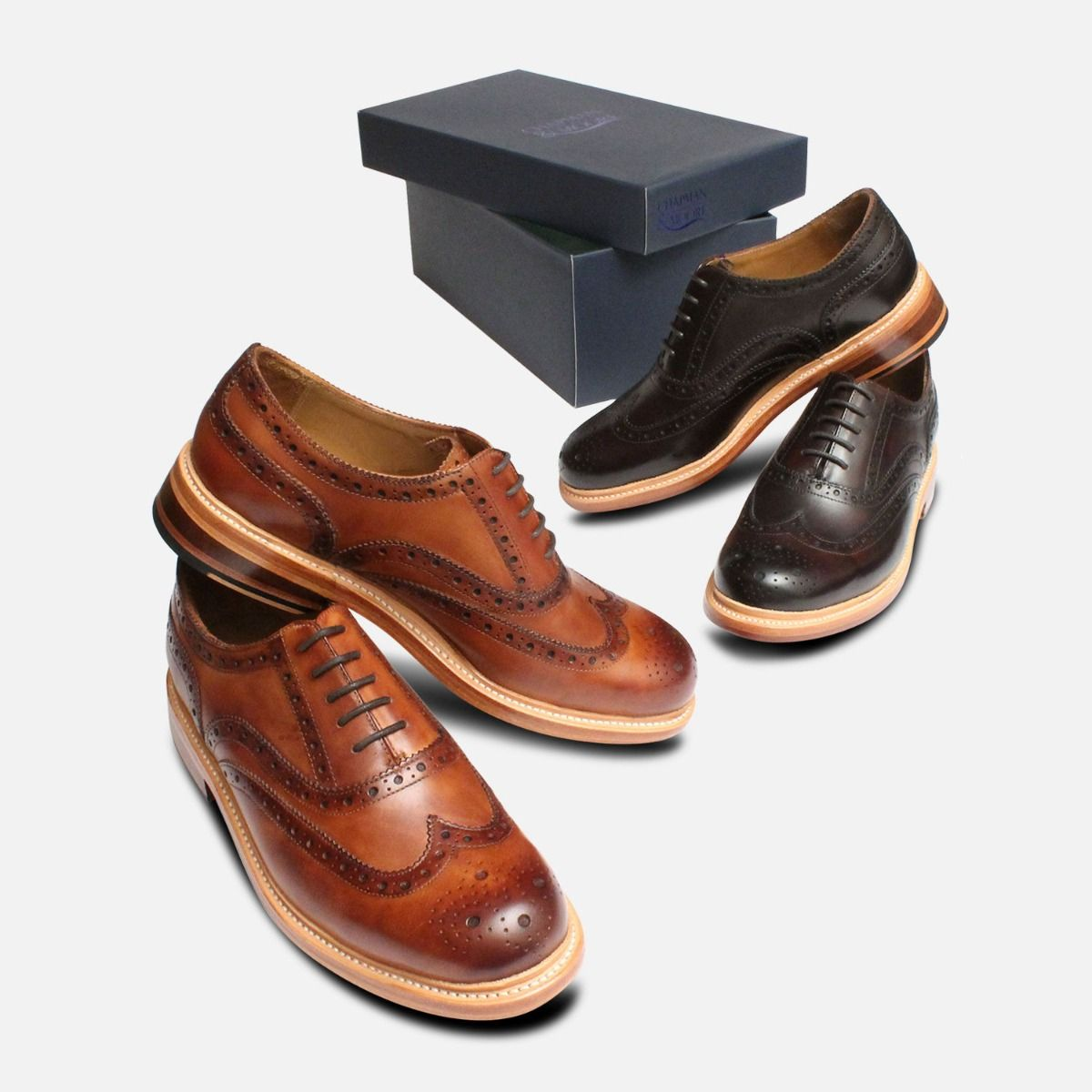 Luxury Chapman Oxford Brogues in Antique Tan