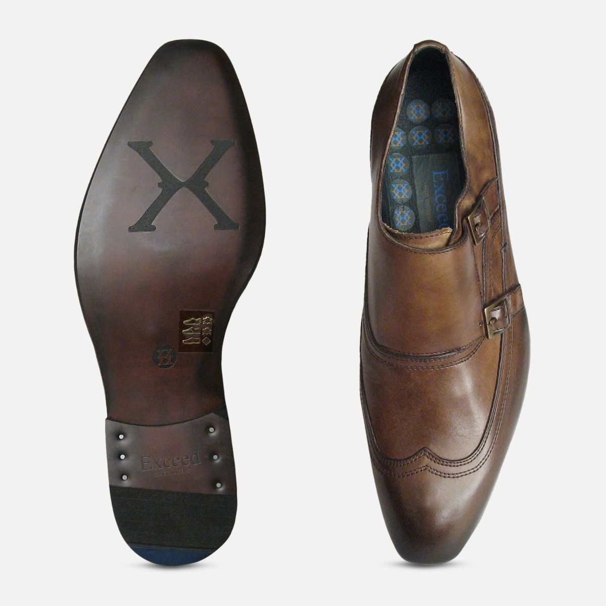 Designer Double Buckle Monk Shoes in Brown by Exceed
