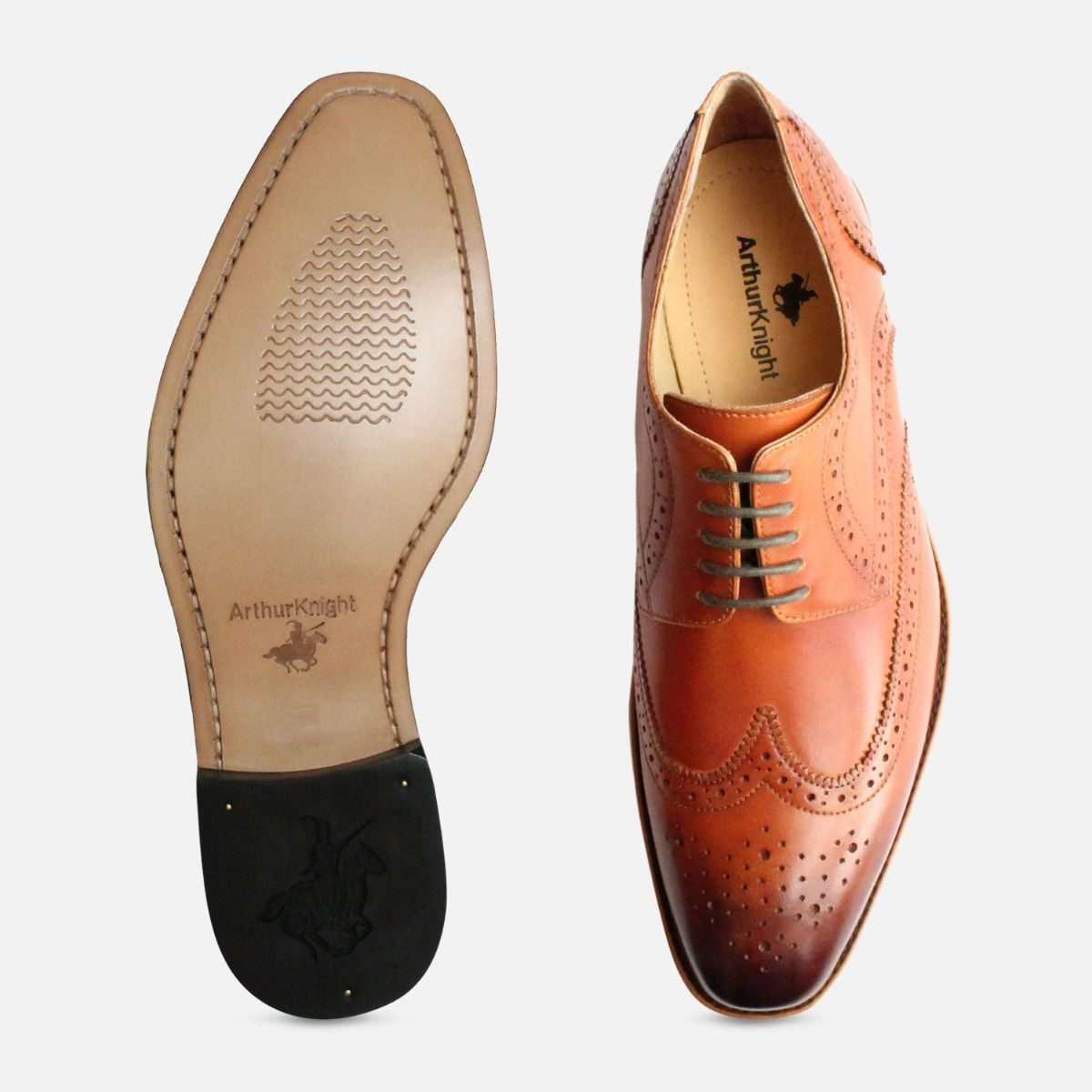 Tan Wingtip Lace Up Brogues by Arthur Knight Shoes