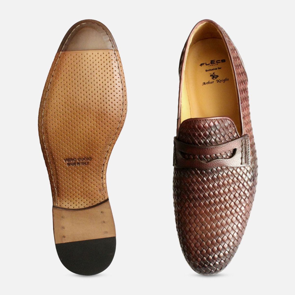 8400654008 Brown Mens Weave Shoes by Arthur Knight