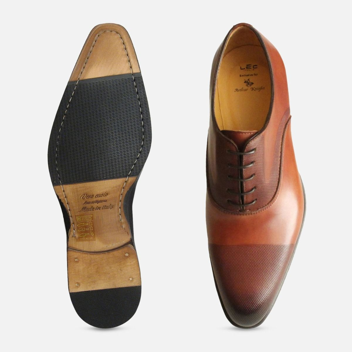 Executive Rich Brown Perforated Italian Oxford Shoes