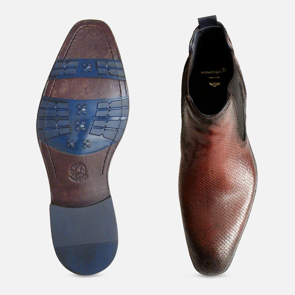 Brown Snake Skin Effect Mens Chelsea Boot