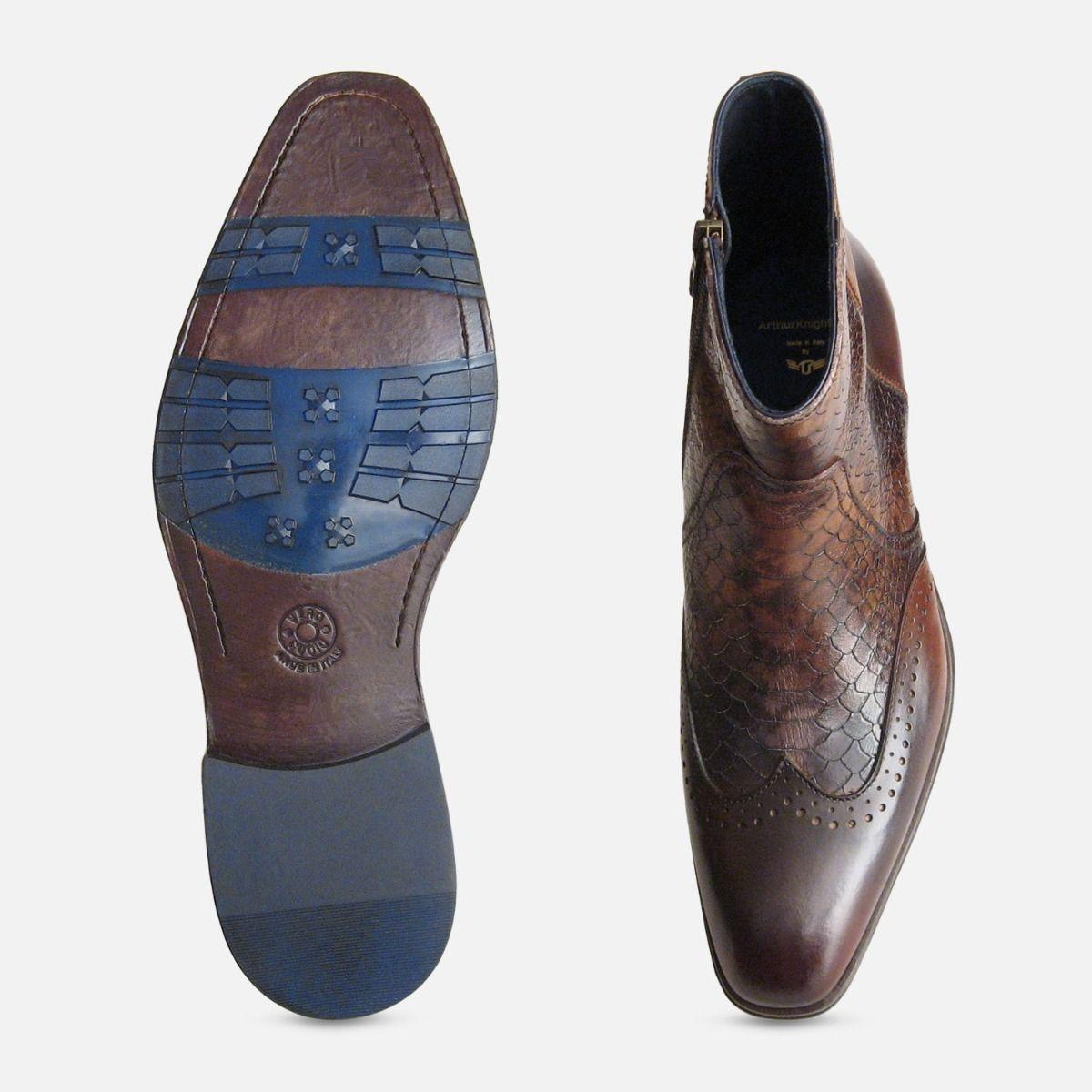 Designer Mens Brown Snakeskin Zip Boot
