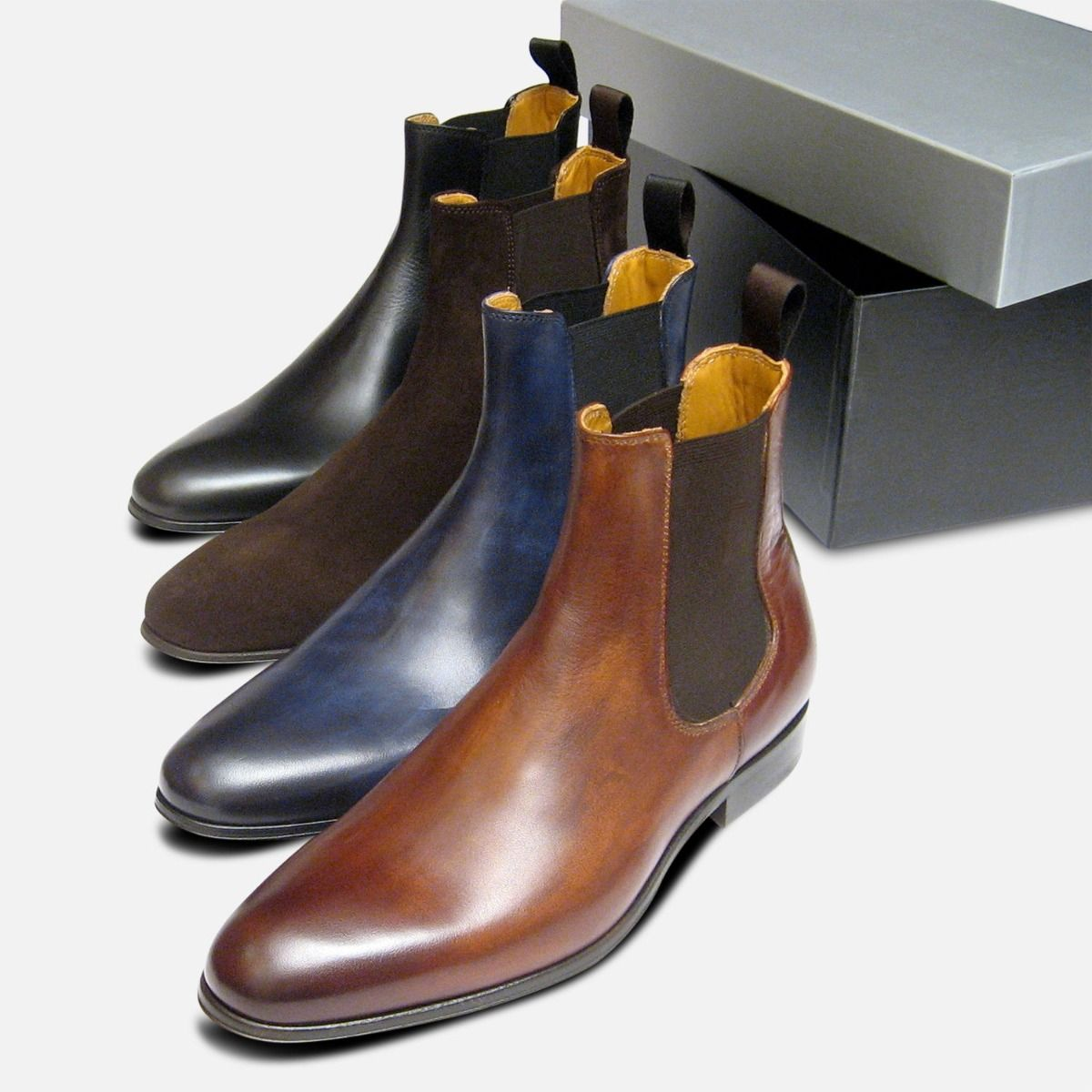 Brown Suede Italian Chelsea Boots for Men