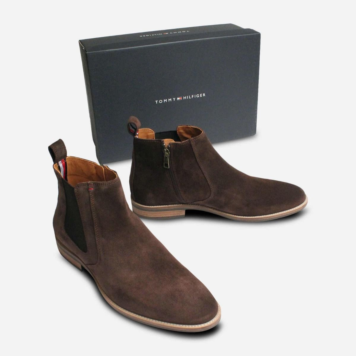 Tommy Hilfiger Brown Suede Chelsea Zip Boots for Men