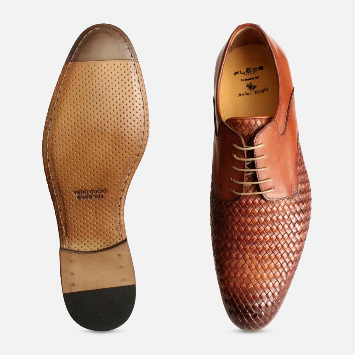 Weave Leather Designer Brown Laced Shoes
