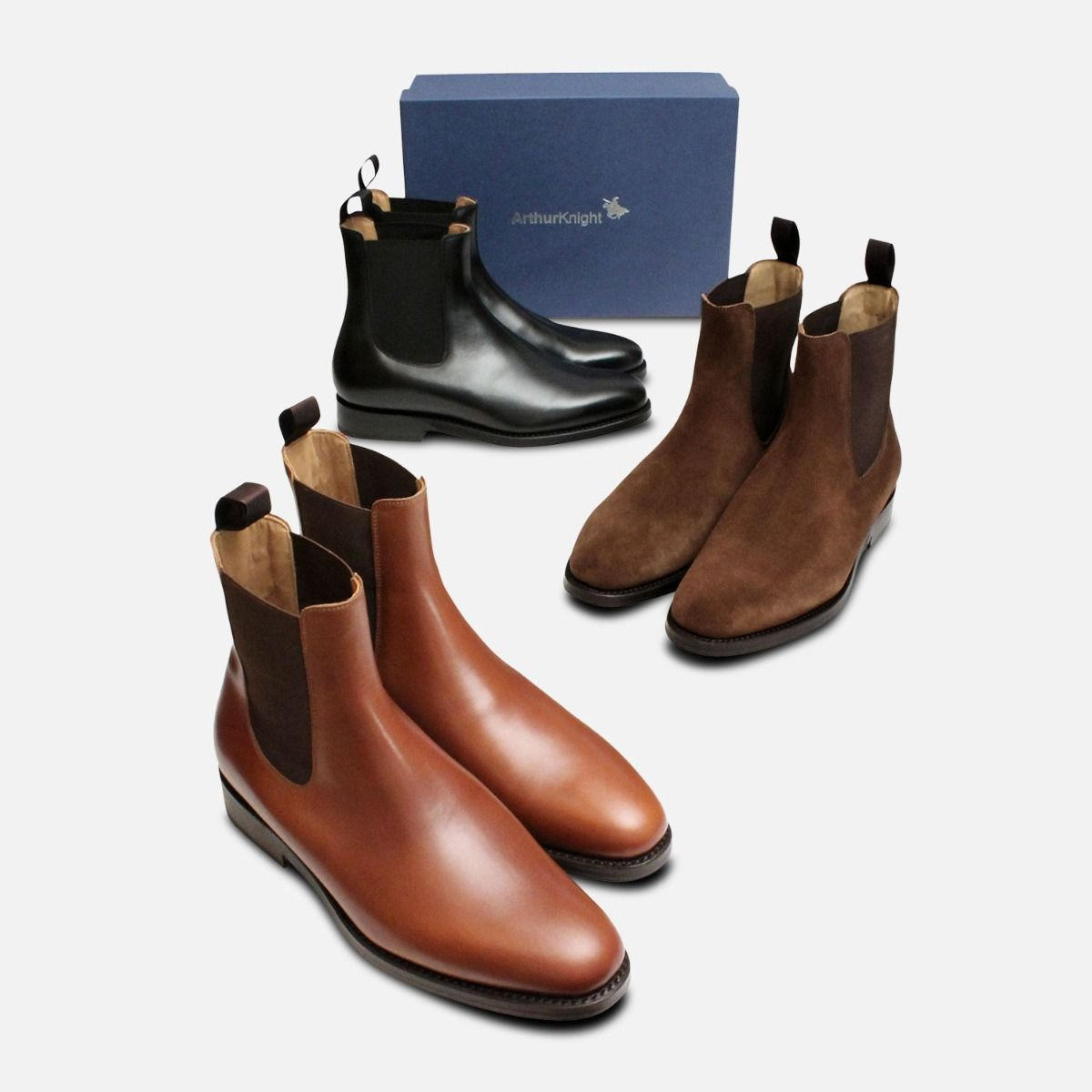 Wholecut Goodyear Welted Chelsea Boots in Brown