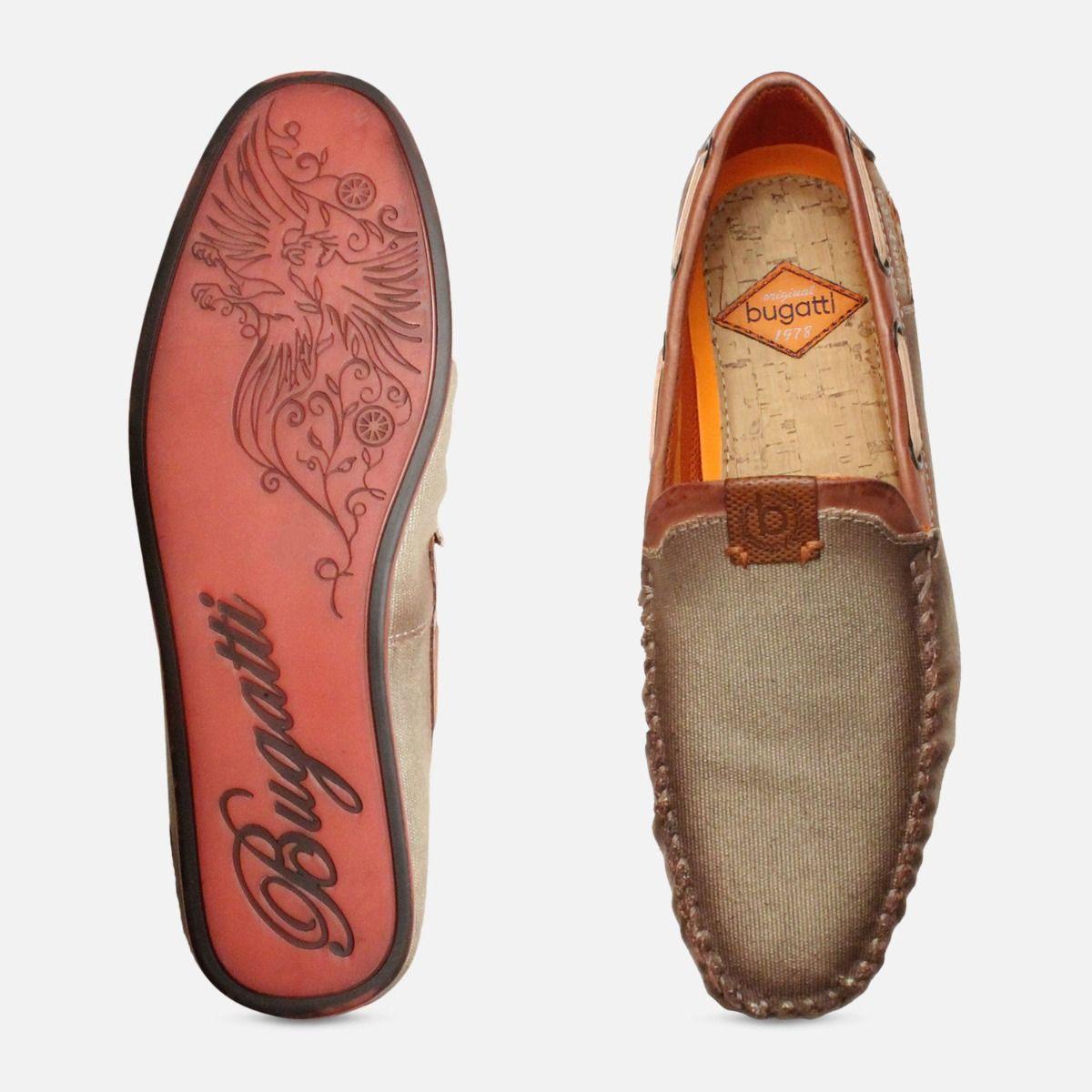 Smoked Designer Bugatti Loafers in Beige Canvas