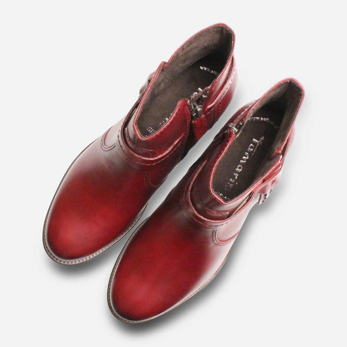 Burgundy Tamaris Ladies Ankle Boots with Side Zip