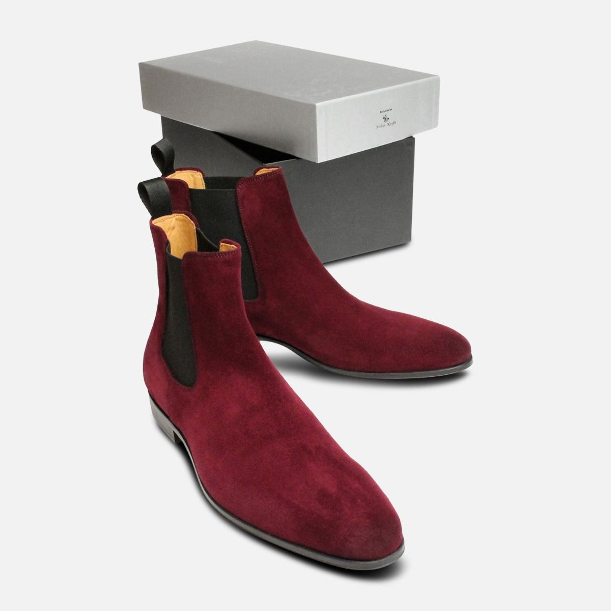 Rich Burgundy Velour Suede Mens Chelsea Boots