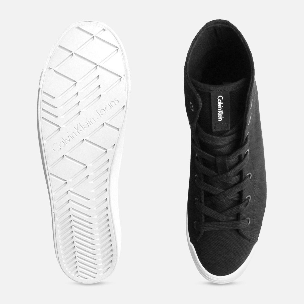 Black Canvas Ritzy Heel Sneakers by Calvin Klein