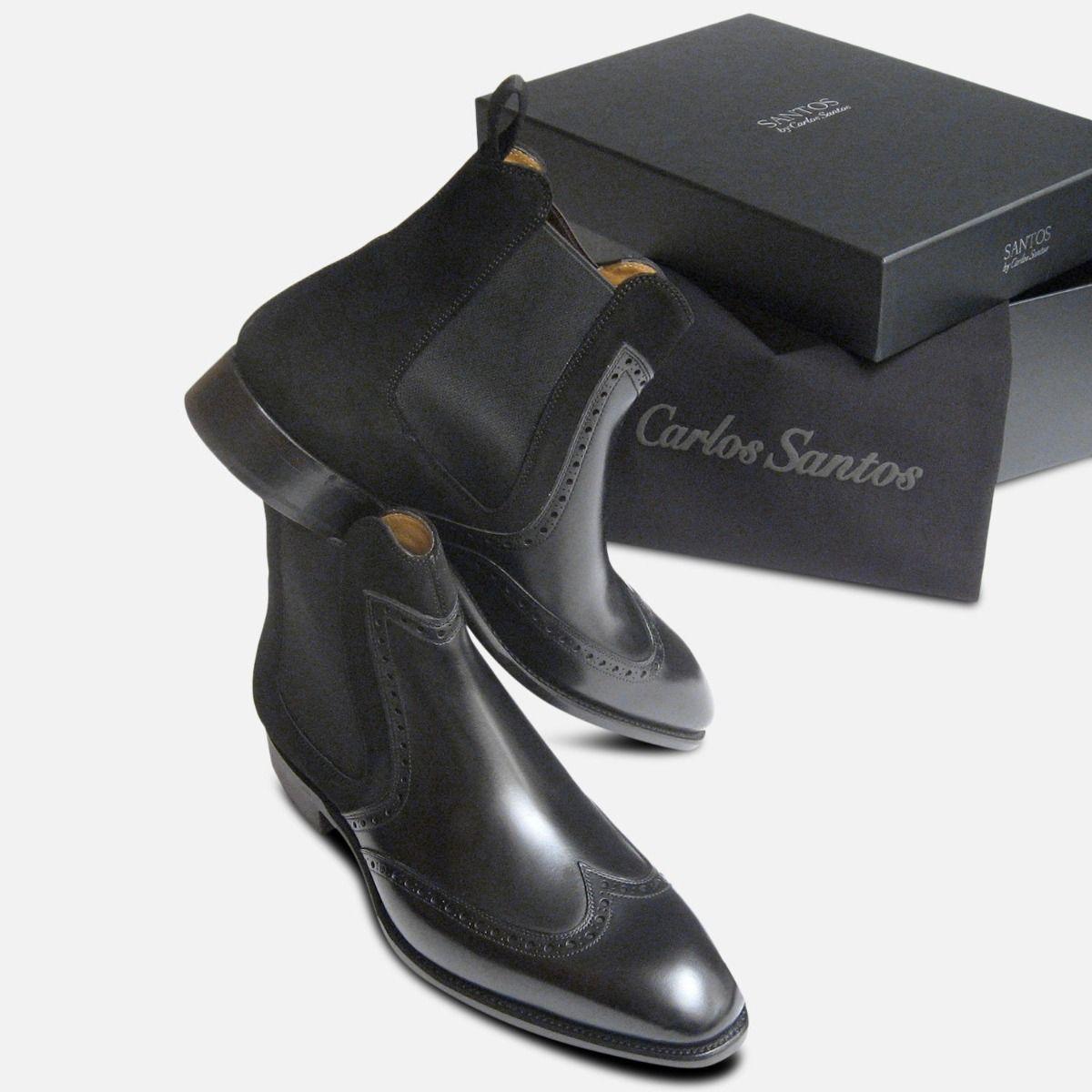 Conquer by Carlos Santos Boots in Black Calf Suede