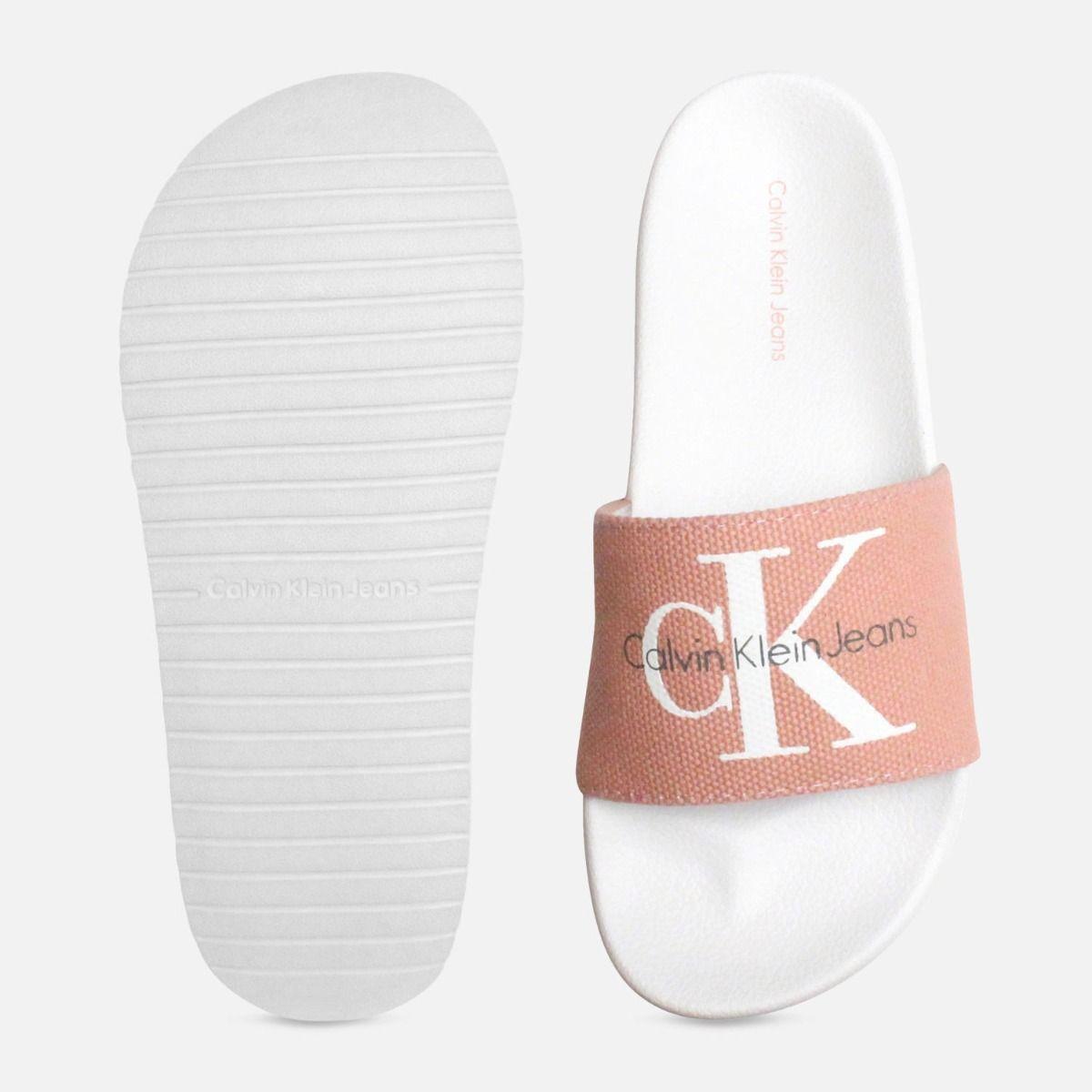 Calvin Klein Chantal Sandals in Dusk Pink Canvas