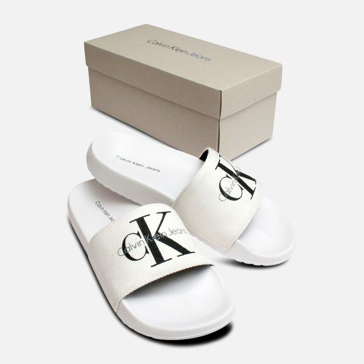 a231cf790 White Ladies Calvin Klein Chantal Canvas Sandals