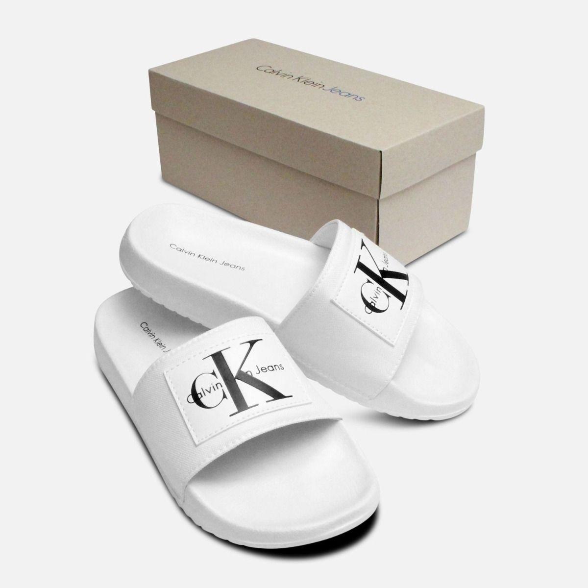 White Calvin Klein Ladies Chloe Nylon Sliders