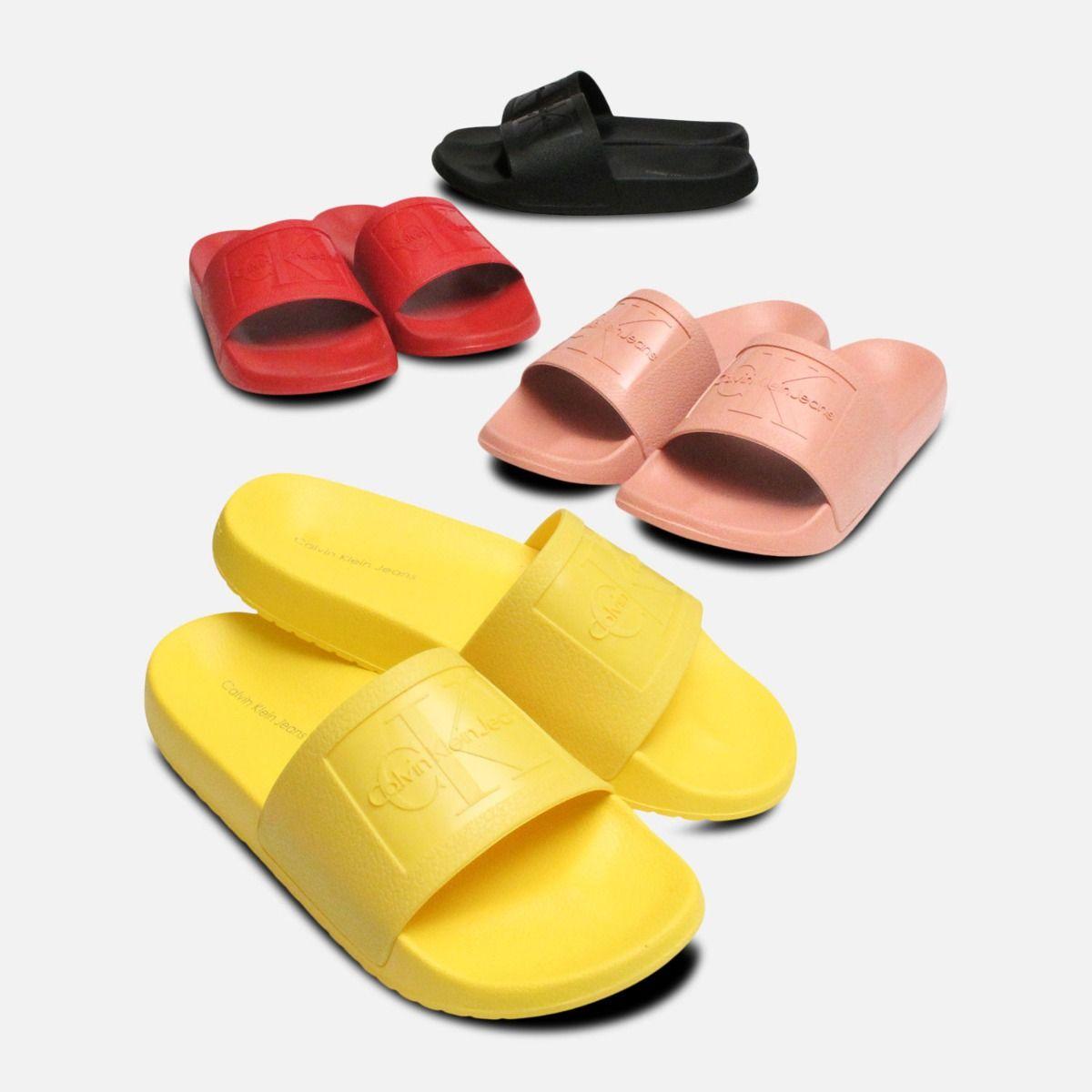 Black Jelly Calvin Klein Sandals Christie Pool Slides