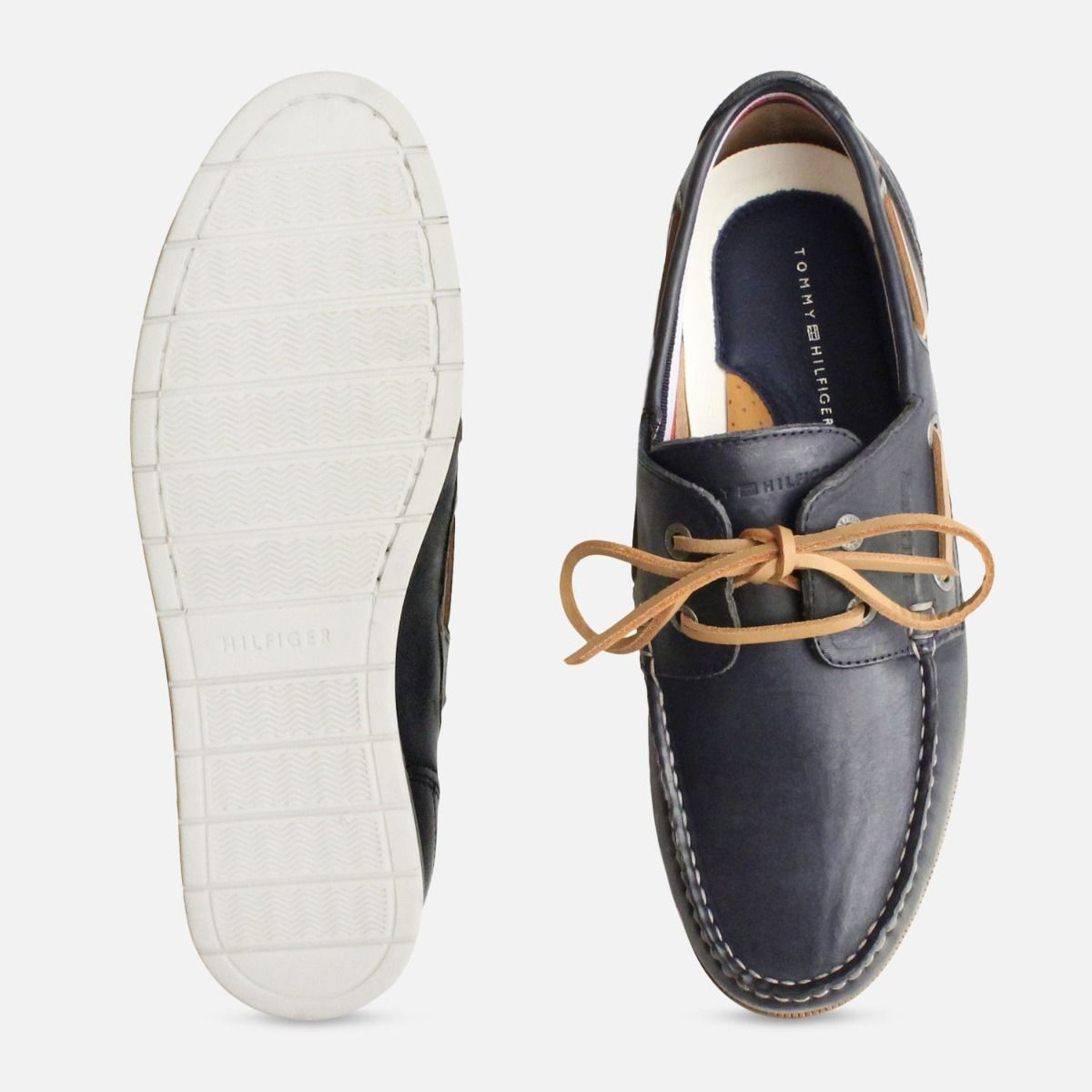 Tommy Hilfiger Navy Blue Lace Up Coast Boat Shoes