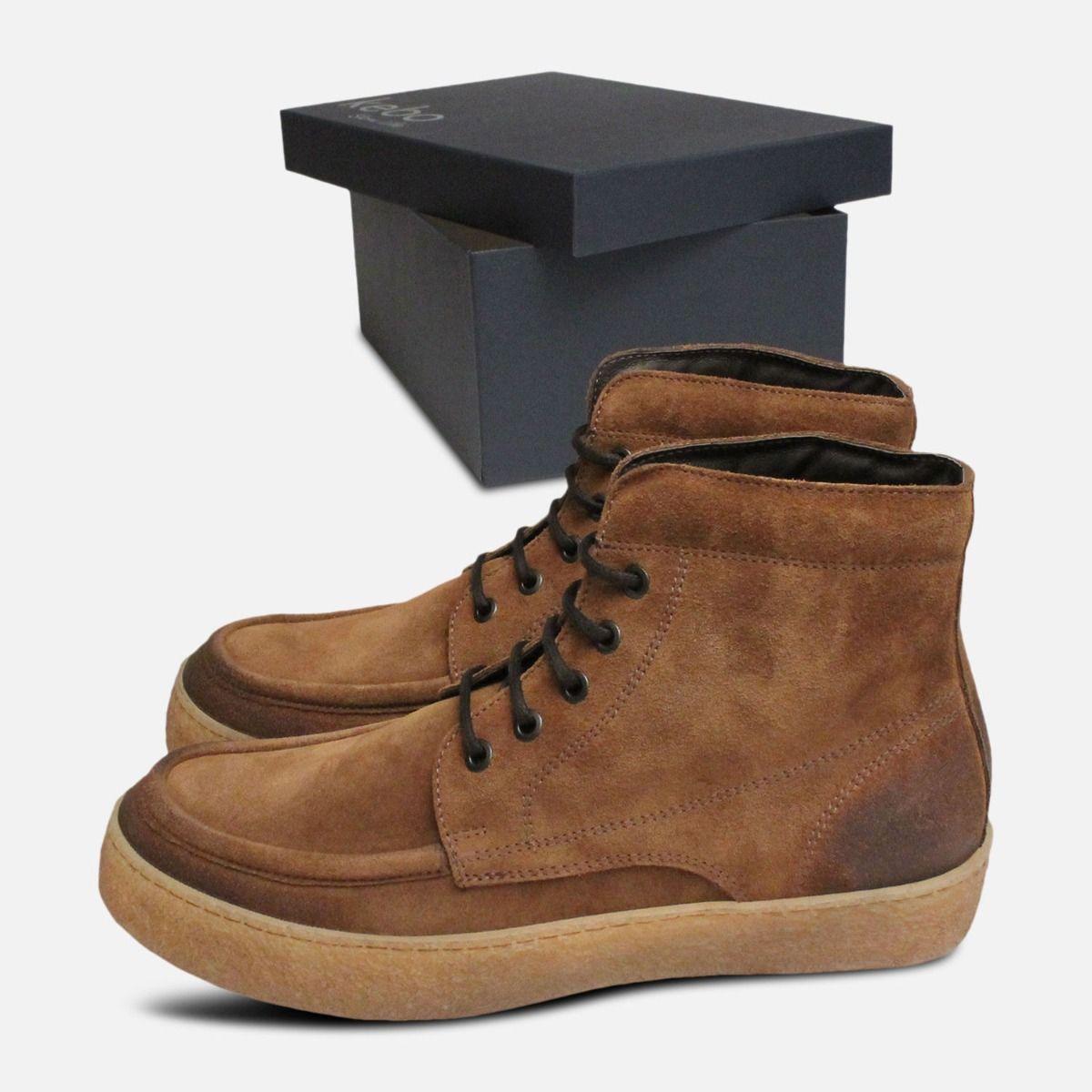 Tobacco Waxy Suede Designer Italian Cup Sole Boots