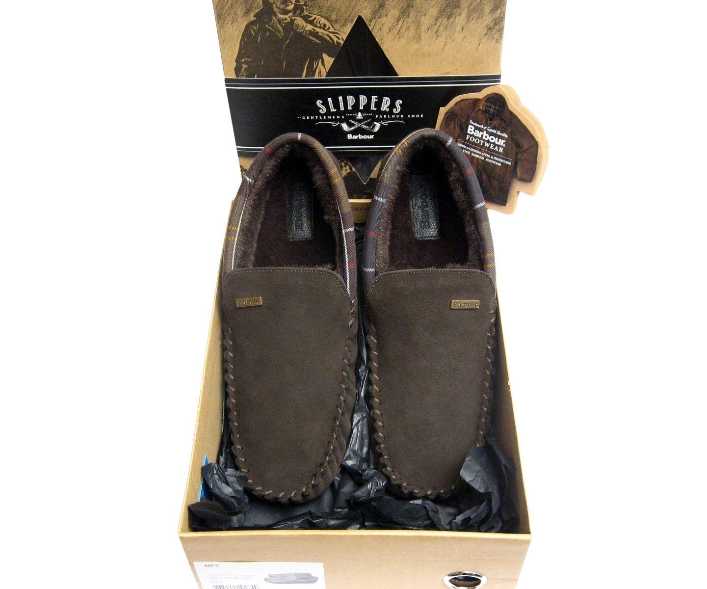 Barbour Mens Dark Brown Suede Monty Fur Slippers