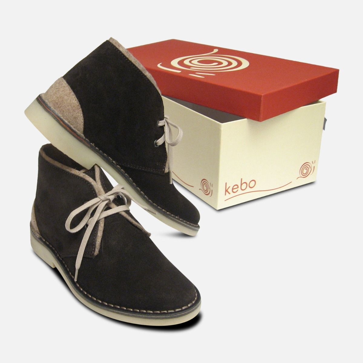 Dark Brown Suede Desert Boots with Beige Felt Trim