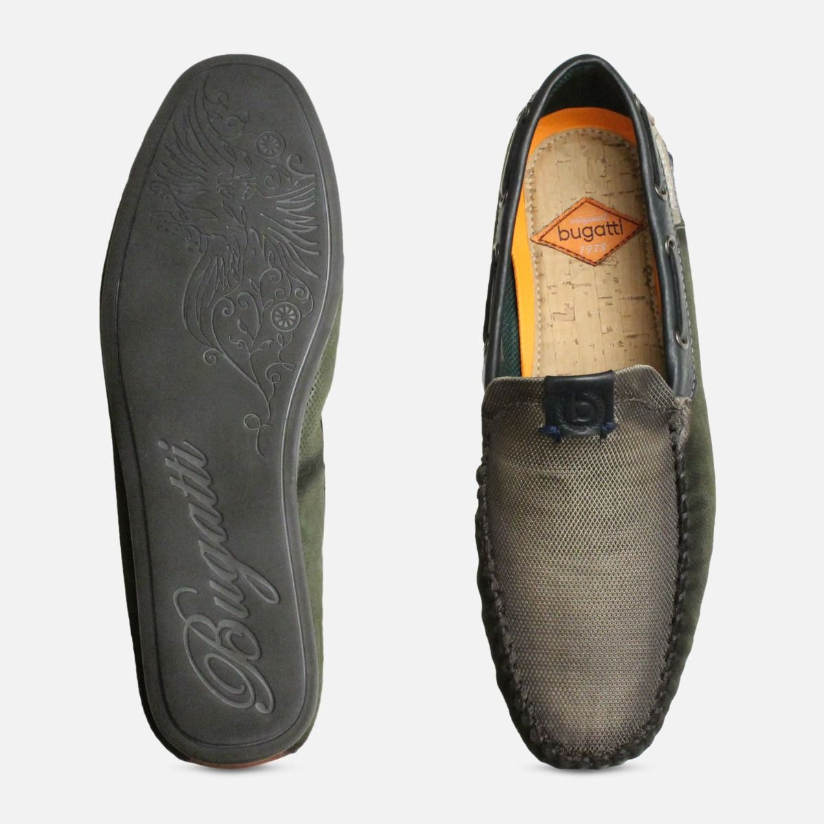 Smoked Bugatti Loafers in Moss Green Suede