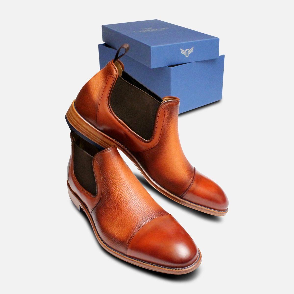 d3df006f462e Deer Skin Mens Chelsea Boots in Antique Tan