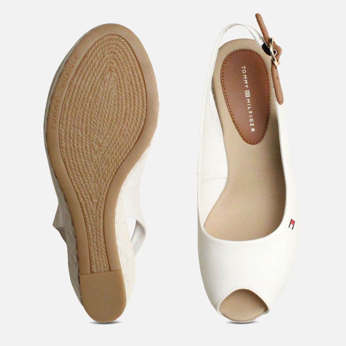 ea8d1b55f3b20e Tommy Hilfiger Womens Elba White Wedge Sandals