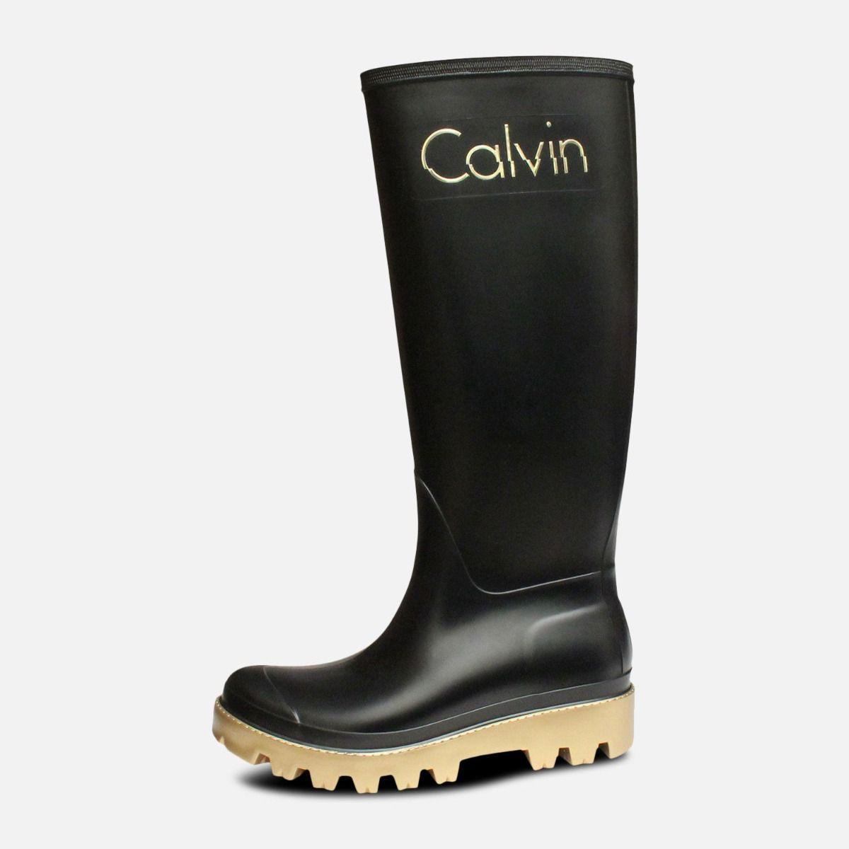Black & Gold Calvin Klein Eliza Ladies Wellies