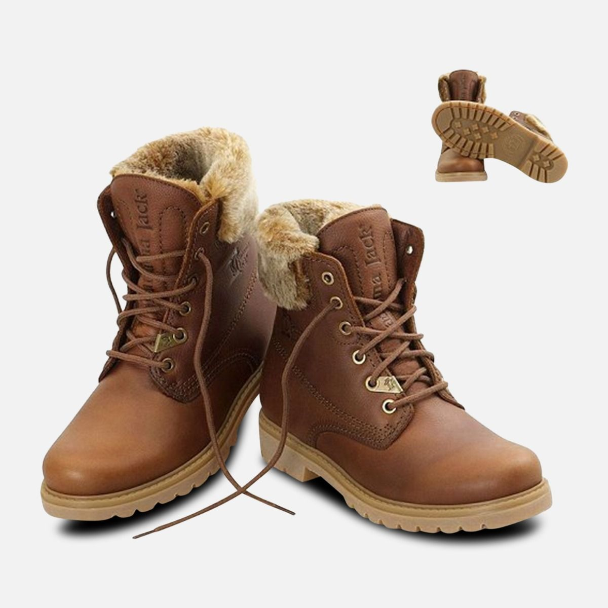 Panama Jack Ladies Havana Joe Fur Collar Boots in Brown Leather