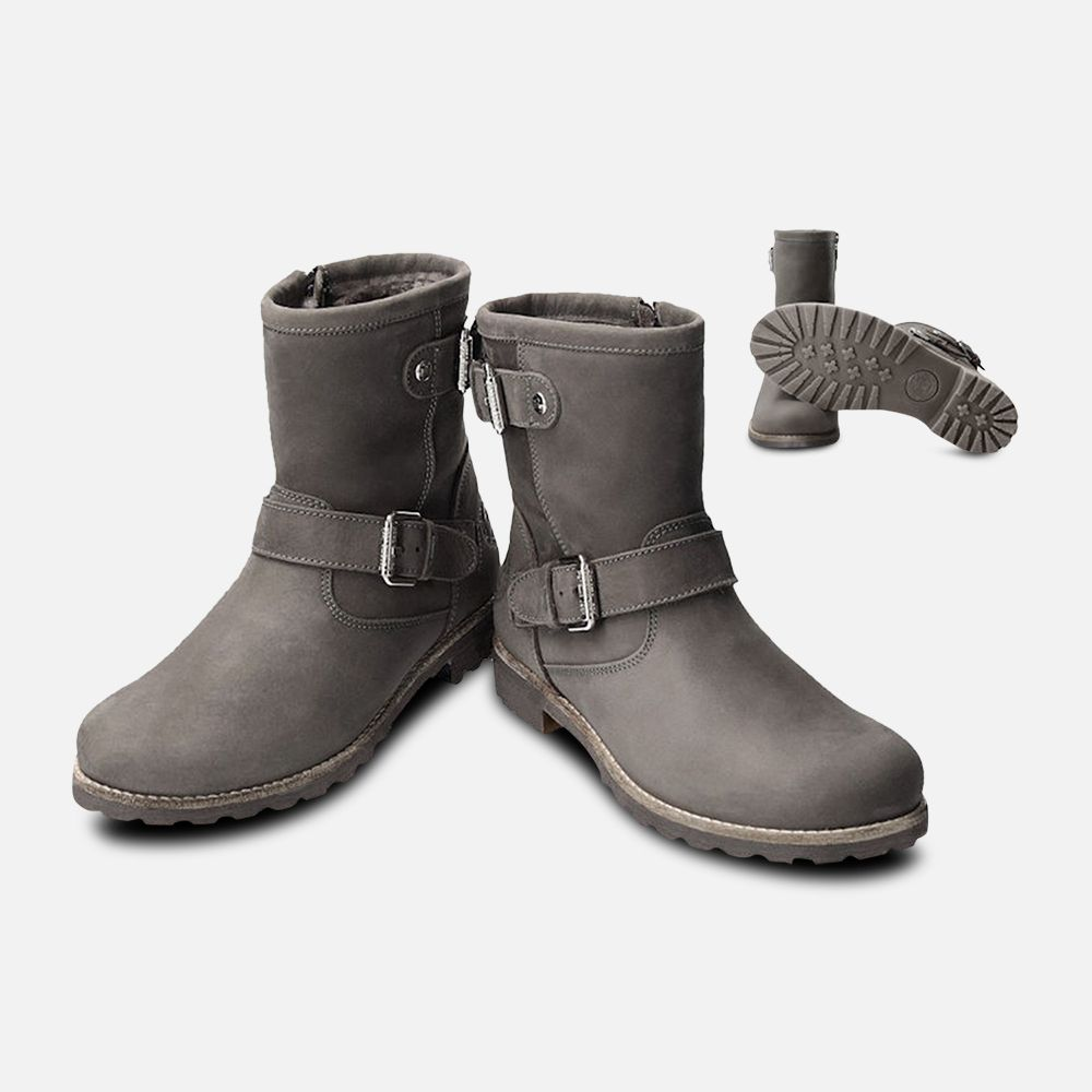Panama Jack Igloo Fur Felina Buckle Boots in Grey