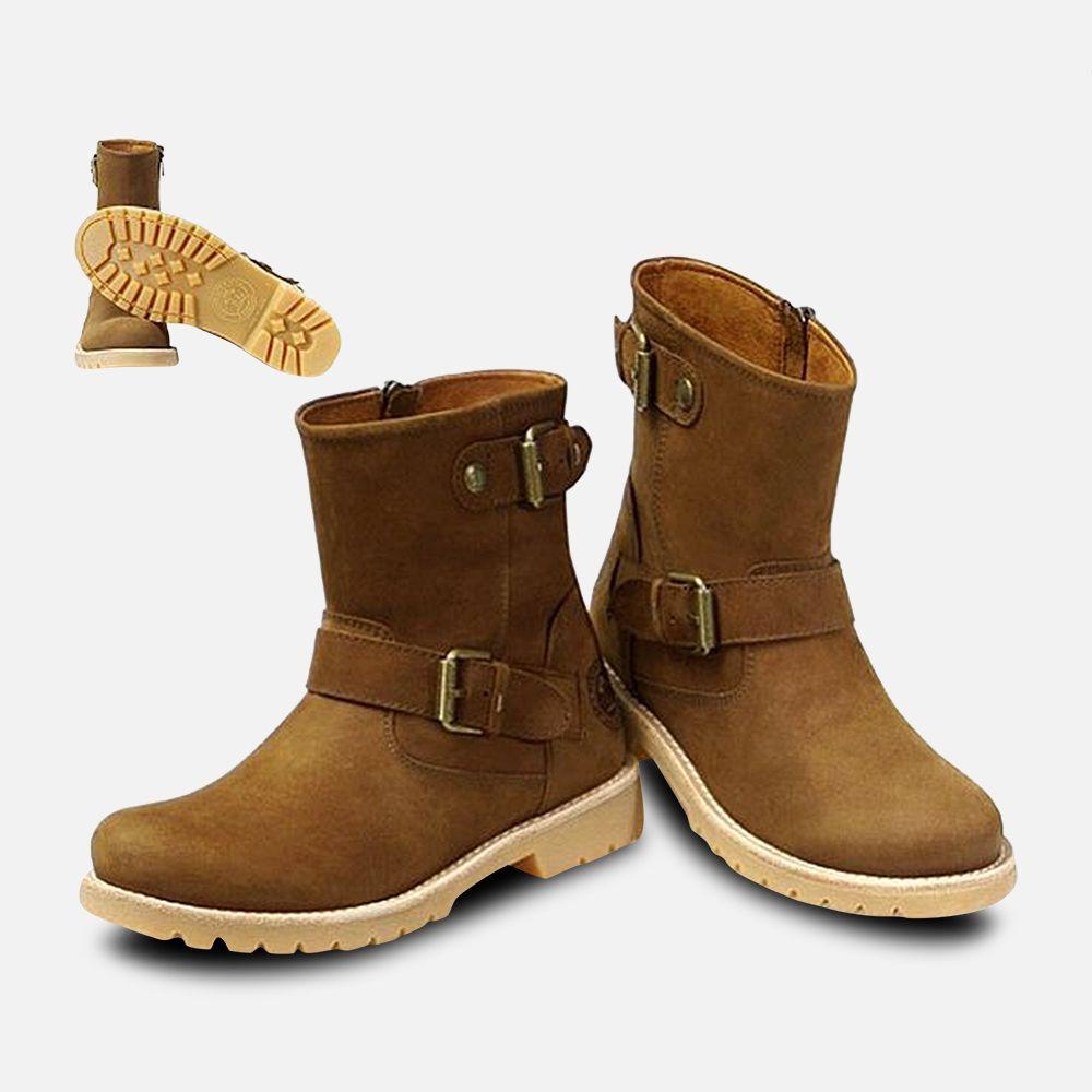 Panama Jack Ladies Feline Zip Boots in Brown Nubuck
