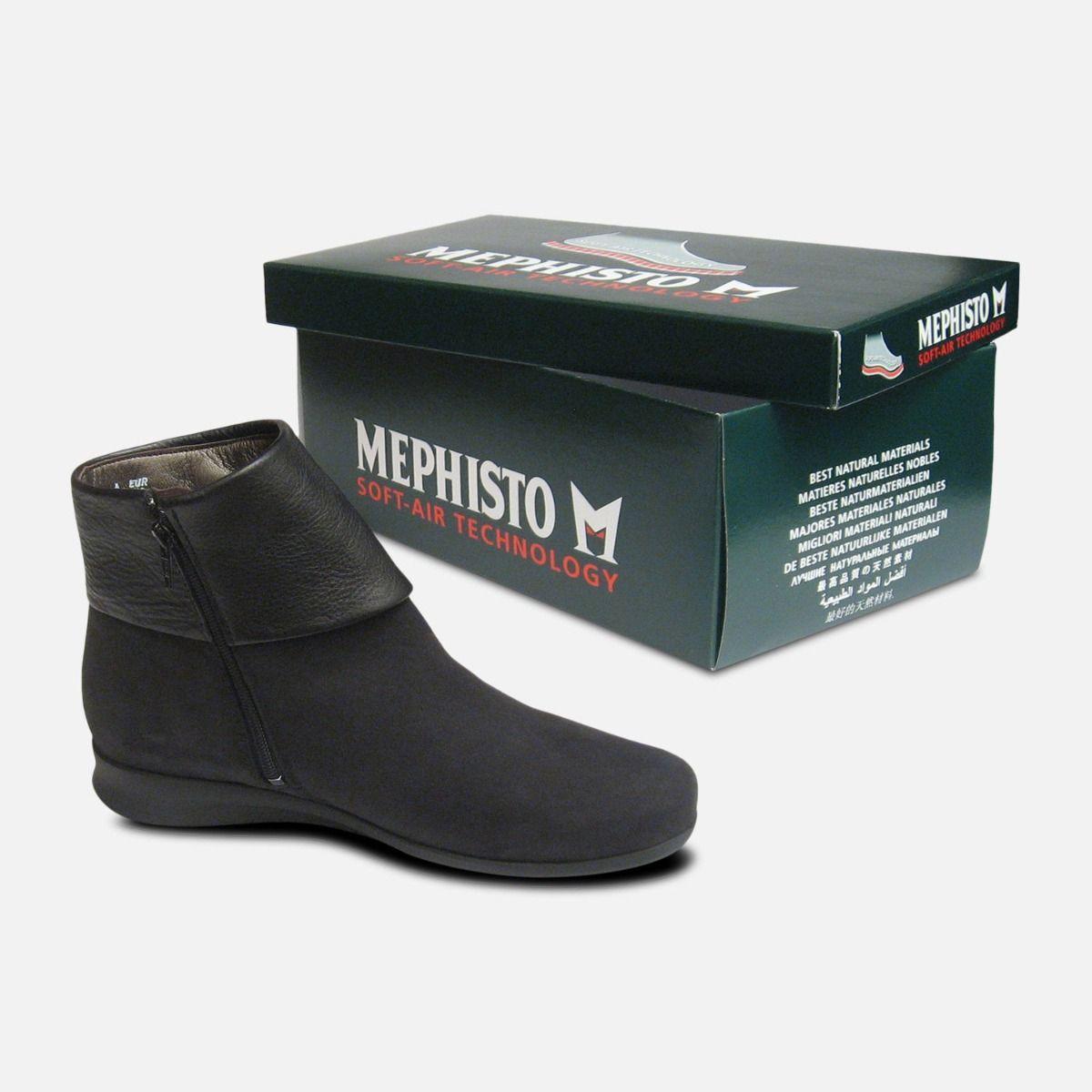 da6e57174b Mephisto Ladies Fiducia Black Nubuck Zip Boots