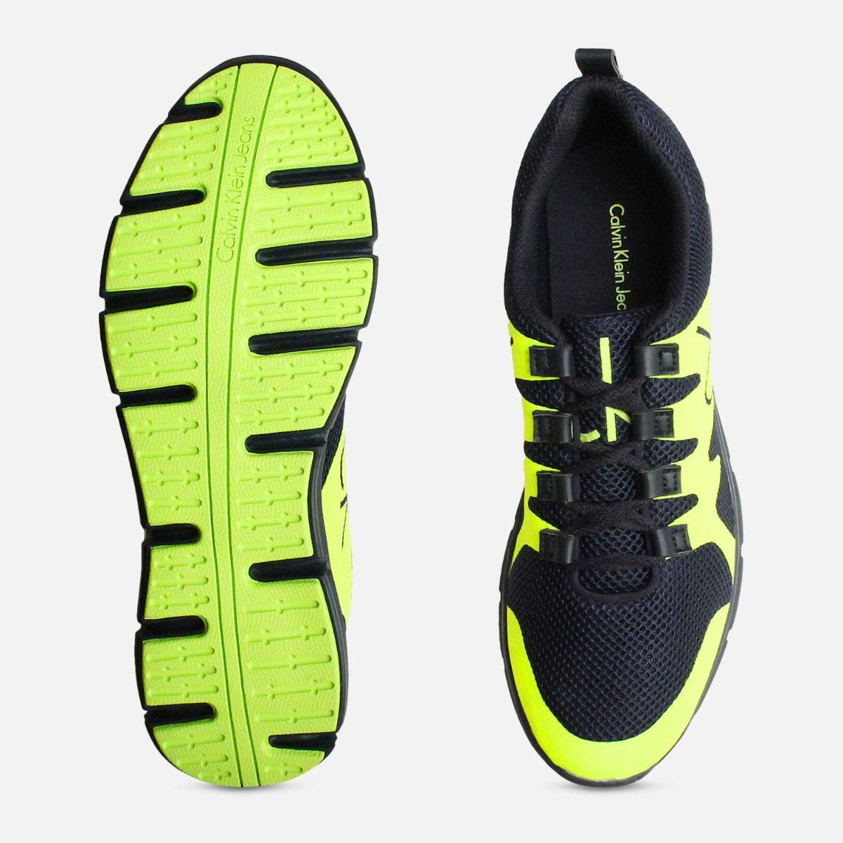 Calvin Klein Florescent Yellow & Navy Running Trainers