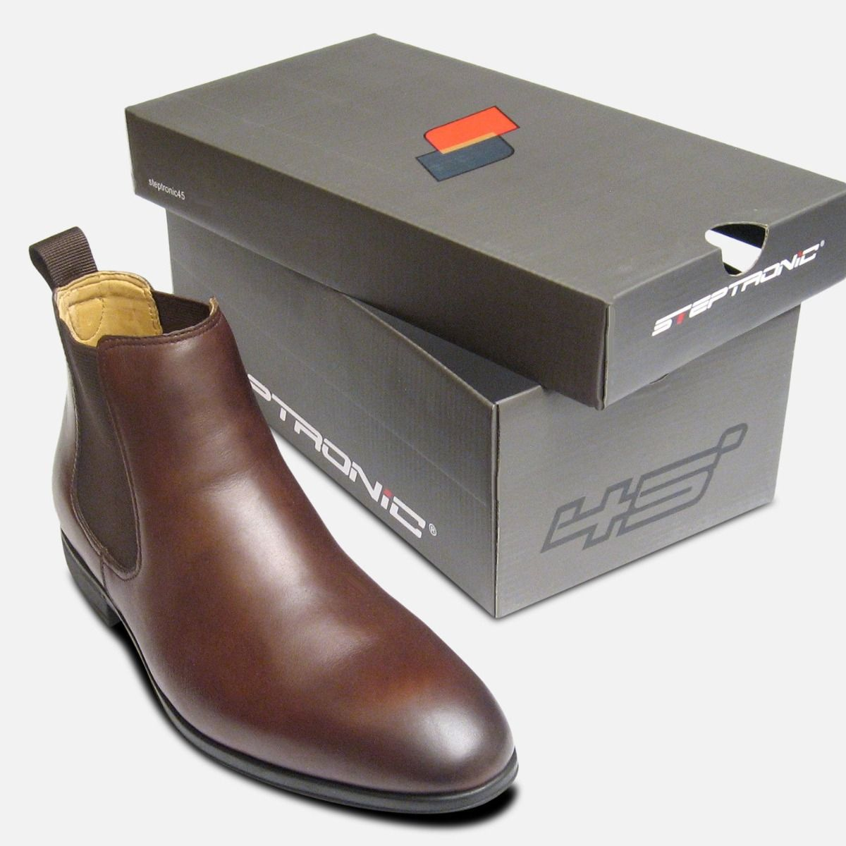Steptronic Dark Conker Brown Mens Dealer Boots with Rubber Sole