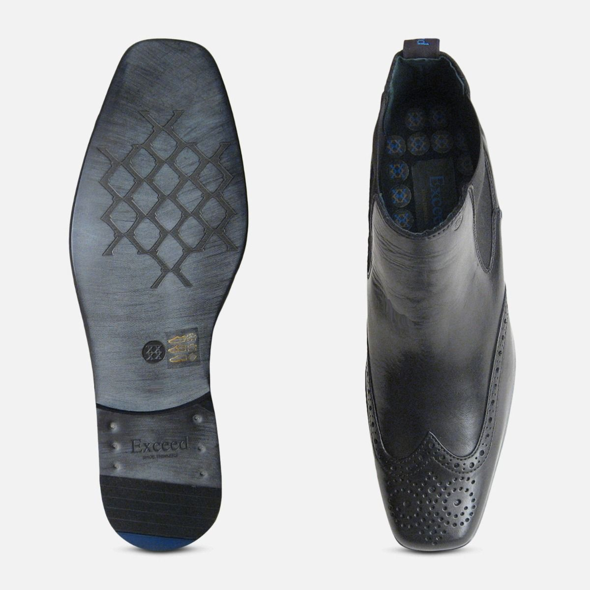 Exceed Black Brogue Mens Chelsea Boots