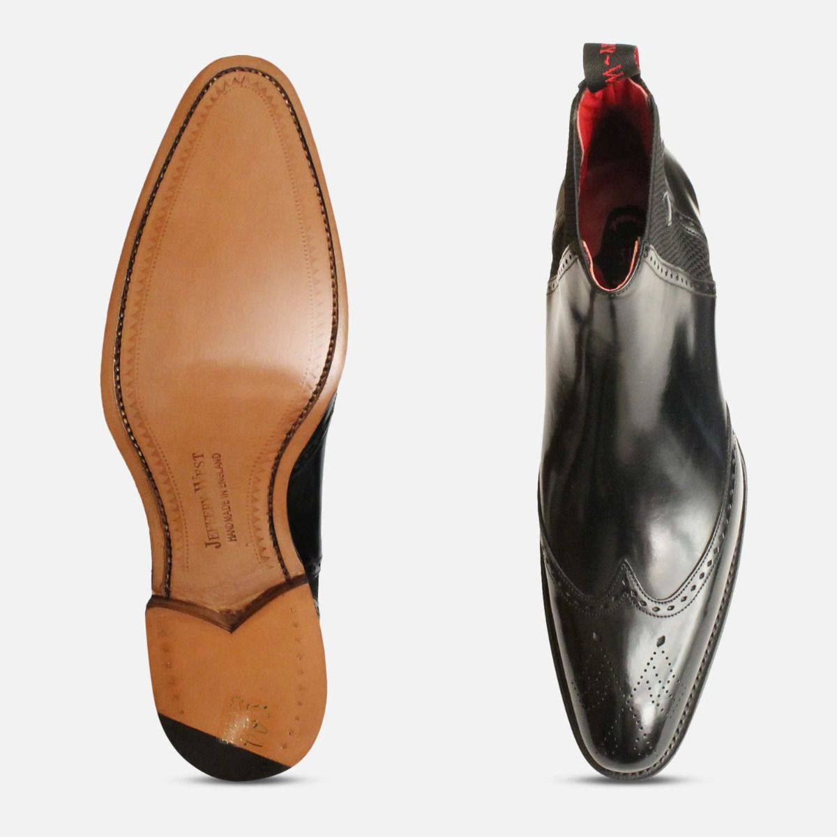 English Jeffery West Chelsea Brogues in Black Polished