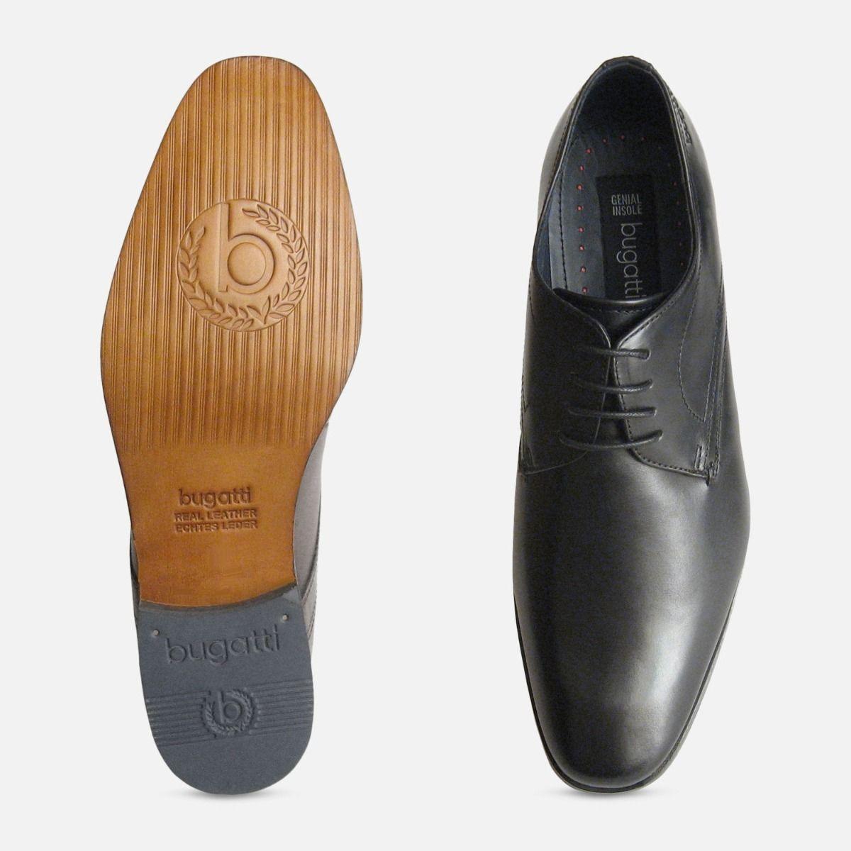 Mens Formal Designer Bugatti Shoes in Black Calf