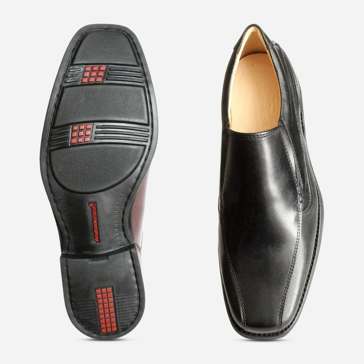 Square Toe Formal Loafers in Black by Anatomic Shoes