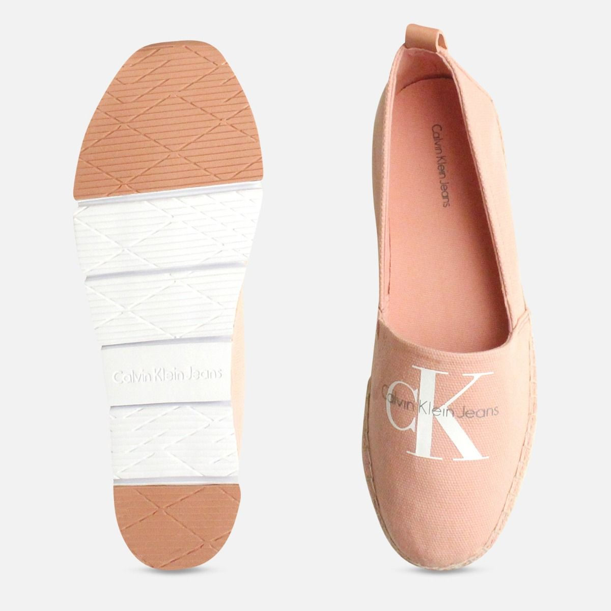 Calvin Klein Ladies Pink Canvas Espadrilles in Dusk Pink